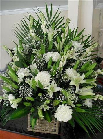 Big Basket of Premium White Flowers