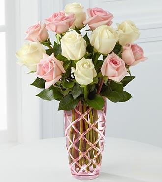 Acceptance - 12 Pink White Roses Flower Vase