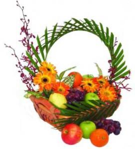 Add Fresh Fruits Basket 4 KG with Flowers
