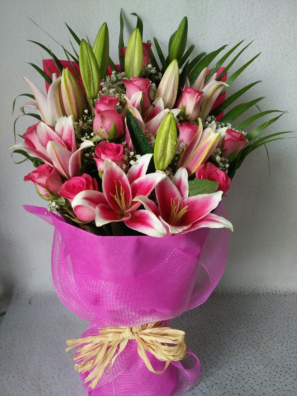 Veracity Pink Roses Lilies Premium Hand Bouquet