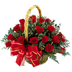 True Relations - 15 Red Roses Basket with Greens