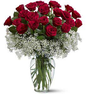 Relaxed Rhythm - Glass Vase Arrangement with 24 Red Roses