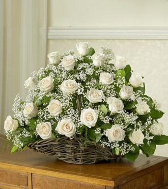 24 White Roses Basket Delivery in Sharjah, Ajman