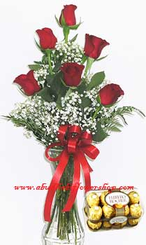 Special Treat – 6 Red Roses and Chocolates as Birthday Gift
