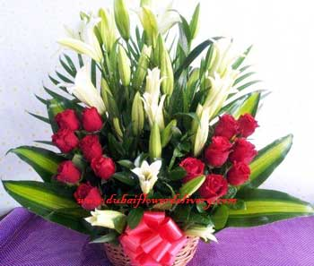 Red and White Lilies Roses Basket Delivery in Sharjah and Ajman