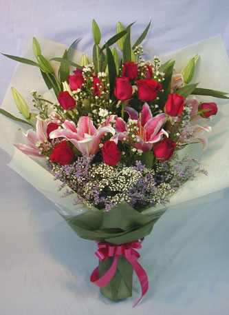 Pink Lilies Red Roses Bouquet with 21 Flowers in Sharjah