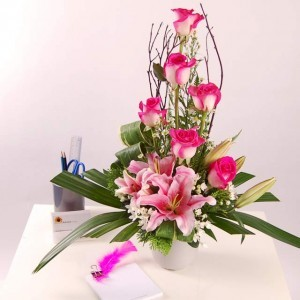 Admire with Pink Lilies Roses on Short Vase