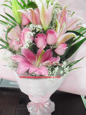 Pink Lilies Roses Bouquet Delivery in Sharjah