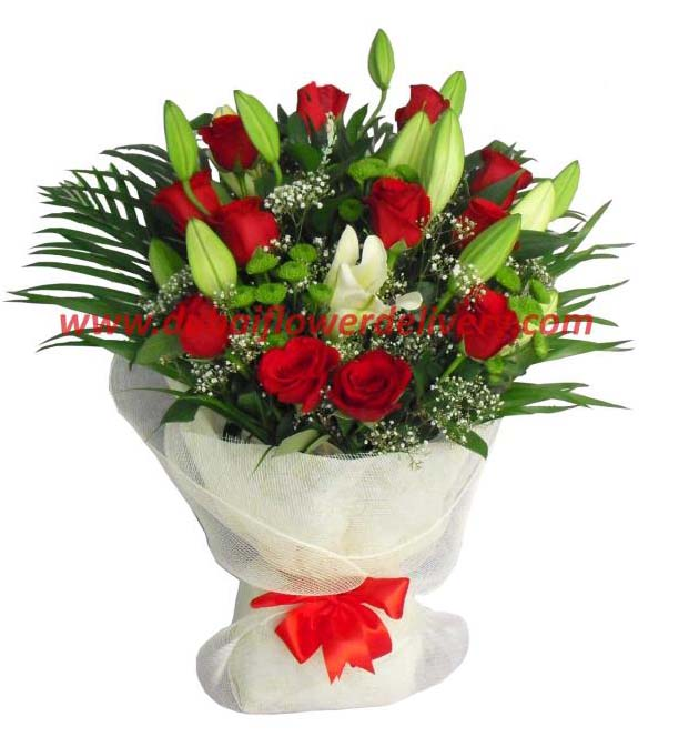 20 Flowers Bouquet Made of Red Roses White Lilies