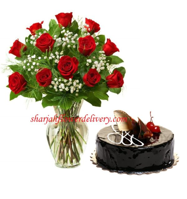 Chocolate Cake Flowers Delivery Sharjah As Same Day For 78