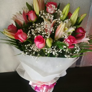 Veracity -Pink Roses Lilies Premium Hand Bouquet